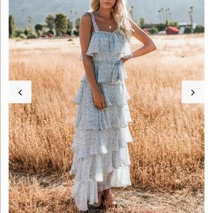 The Mystic Ocean Tiered Ruffle Maxi Dress